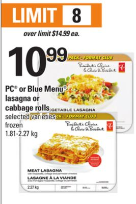 PC Or Blue Menu Lasagna Or Cabbage Rolls - 1.81-2.27 Kg