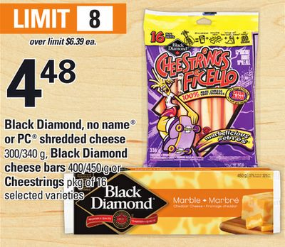 Black Diamond - No Name Or PC Shredded Cheese - 300/340 G - Black Diamond Cheese Bars - 400/450 G Or Cheestrings - Pkg Of 16