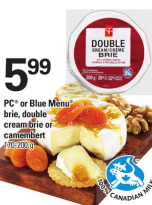 PC Or Blue Menu Brie - Double Cream Brie Or Camembert - 170-200 g