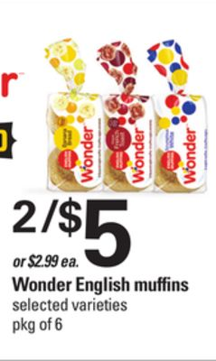 Wonder English Muffins - Pkg of 6