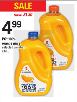 PC 100% Orange Juice - 2.63 L