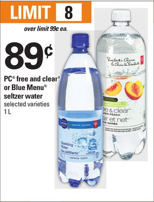 PC Free And Clear Or Blue Menu Seltzer Water - 1 L
