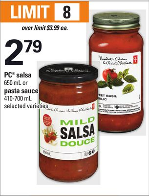 PC Salsa - 650 mL Or Pasta Sauce - 410-700 mL
