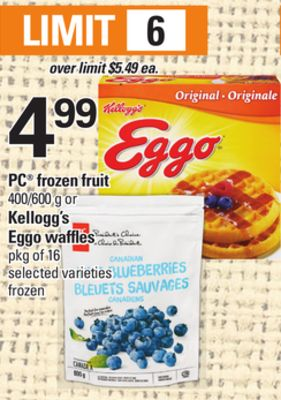PC Frozen Fruit - 400/600 g or Kellogg's Eggo Waffles - Pkg of 16