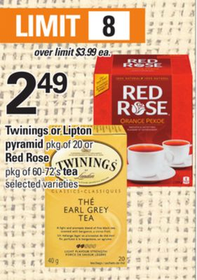 Twinings Or Lipton Pyramid - Pkg Of 20 Or Red Rose - Pkg Of 60-72's Tea