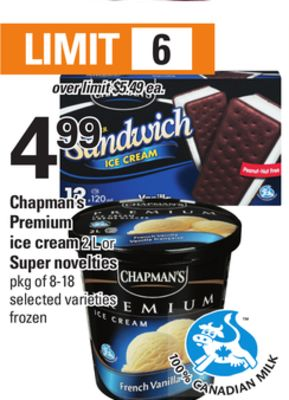 Chapman's Premium Ice Cream - 2 L or Super Novelties - Pkg of 8-18