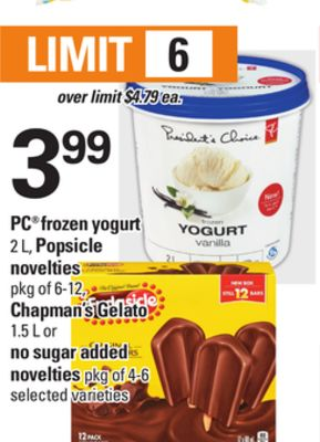 PC Frozen Yogurt - 2 L - Popsicle Novelties - Pkg of 6-12 - Chapman's Gelato - 1.5 L or No Sugar Added Novelties - Pkg of 4-6
