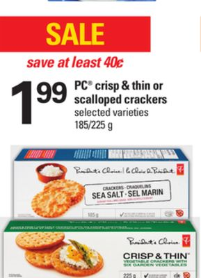 PC Crisp & Thin Or Scalloped Crackers - 185/225 g