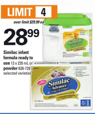 Similac Infant Formula Ready To Use - 12 X 235 mL or Powder - 638-728 g
