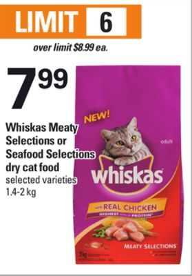 Whiskas Meaty Selections Or Seafood Selections Dry Cat Food - 1.4-2 Kg