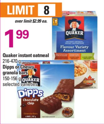 Quaker Instant Oatmeal 216-470 G - Dipps Or Chewy Granola Bars 150-156 G