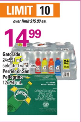 Gatorade 24x591 Ml - Perrier Or San Pellegrino 12x750 Ml