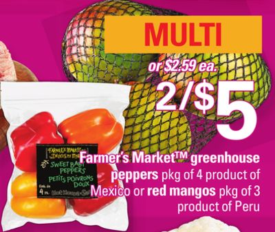 Farmer's Market Greenhouse Peppers - Pkg of 4 Product Of Mexico Or Red Mangos - Pkg of 3