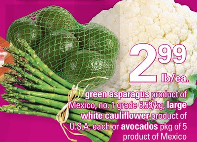 Green Asparagus.large White Cauliflower - Each - Avocados - Pkg of 5