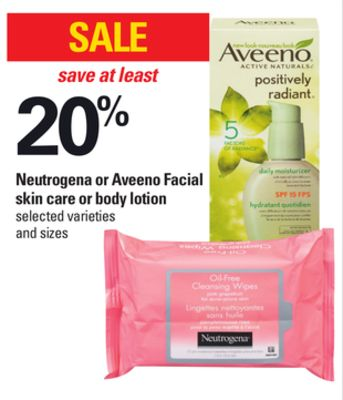 Neutrogena Or Aveeno Facial Skin Care Or Body Lotion