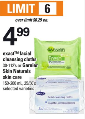 Exact Facial Cleansing Cloths - 30-112's or Garnier Skin Naturals Skin Care - 150-200 mL - 25/56's