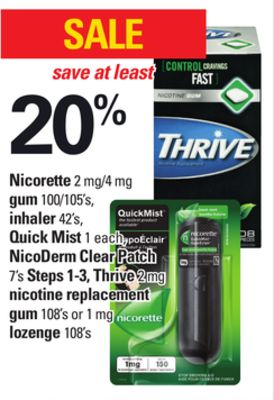 Nicorette 2 Mg/4 Mg - GUM - 100/105's - Inhaler - 42's - Quick Mist - 1 Each - Nicoderm Clear Patch - 7's Steps 1-3 - Thrive - 2 Mg Nicotine Replacement GUM - 108's or 1 Mg Lozenge - 108's