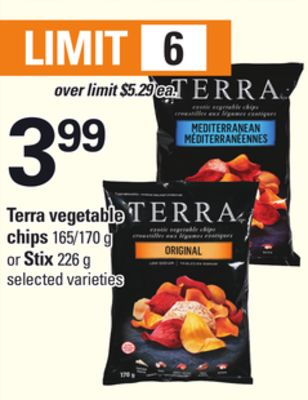 Terra Vegetable Chips - 165/170 g Or Stix - 226 g