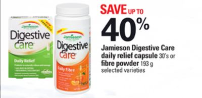 Jamieson Digestive Care Daily Relief Capsule 30's Or Fibre Powder 193 G