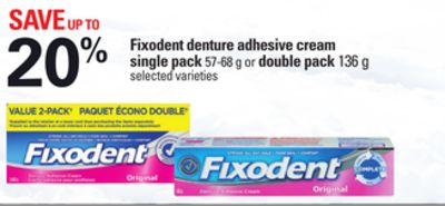 Fixodent Denture Adhesive Cream Single Pack - 57-68 g or Double Pack - 136 g