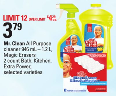 Mr. Clean All Purpose Cleaner - 946 mL – 1.2 L - Magic Erasers 2 Count Bath - Kitchen - Extra Power