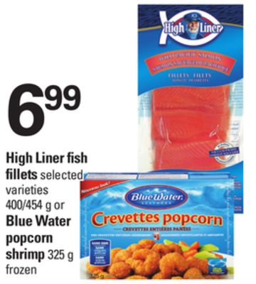 High Liner Fish Fillets - 400/454 G Or Blue Water Popcorn Shrimp - 325 g