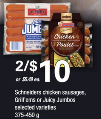 Schneiders Chicken Sausages - Grill'ems Or Juicy Jumbos - 375-450 g