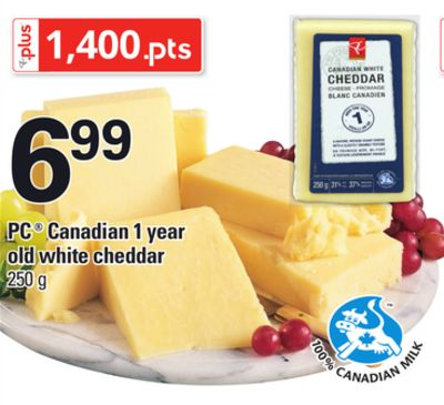 PC Canadian 1 Year Old White Cheddar - 250 g