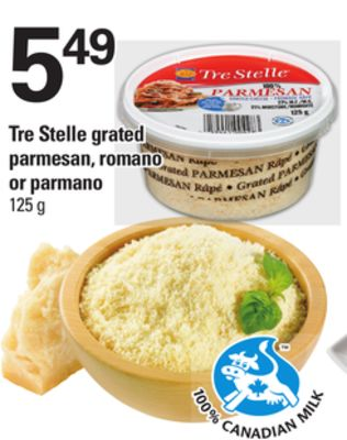 Tre Stelle Grated Parmesan - Romano Or Parmano - 125 G