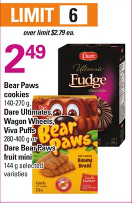 Bear Paws Cookies - 140-270 g - Dare Ultimates - Wagon Wheels - Viva Puffs - 280-400 g Or Dare Bear Paws Fruit Mini - 144 g