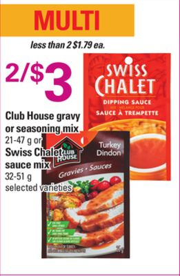 Club House Gravy Or Seasoning Mix - 21-47 g or Swiss Chalet Sauce Mix - 32-51 g