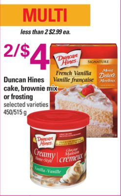 Duncan Hines Cake - Brownie Mix Or Frosting - 450/515 g
