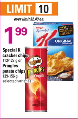 Special K Cracker Chips - 113/127 g or Pringles Potato Chips - 139-156 g