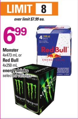 Monster - 4x473 mL Or Red Bull - 4x250 mL Energy Drinks