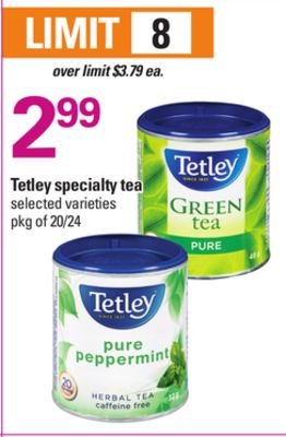Tetley Specialty Tea - Pkg of 20/24