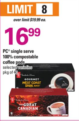 PC Single Serve 100% Compostable Coffee PODS - Pkg of 40
