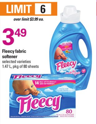 Fleecy Fabric Softener - 1.47 L - Pkg of 80 Sheets