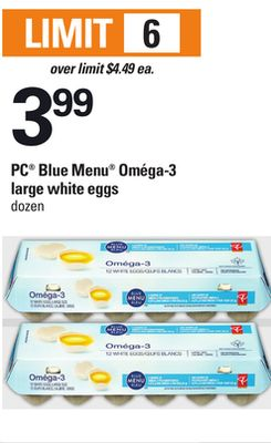 PC Blue Menu Oméga-3 Large White Eggs - Dozen