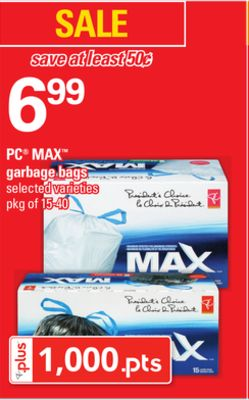 PC Max Garbage Bags - Pkg of 15-40