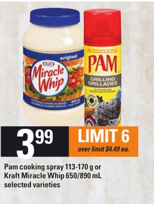 Pam Cooking Spray - 113-170 G Or Kraft Miracle Whip - 650/890 Ml