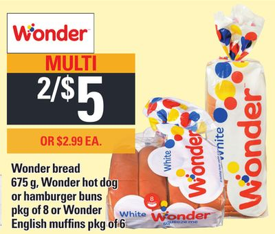 Wonder Bread - 675 g - Wonder Hot Dog or Hamburger Buns - Pkg of 8 or Wonder English Muffins - Pkg of 6