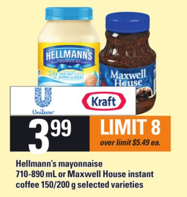 Hellmann's Mayonnaise 710-890 mL Or Maxwell House Instant Coffee 150/200 g