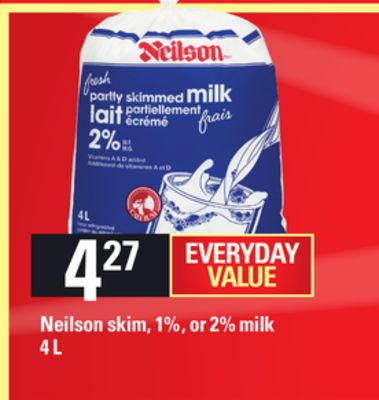 Neilson Skim - 1% - Or 2% Milk - 4 L