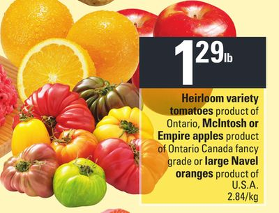 Heirloom Variety Tomatoes - Mcintosh Or Empire Apples - Large Navel Oranges