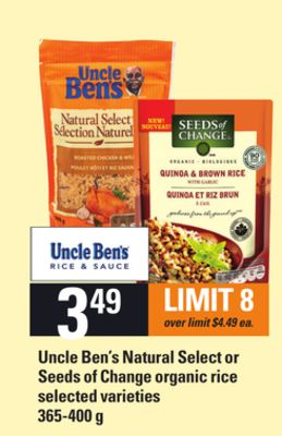 Uncle Ben's Natural Select Or Seeds Of Change Organic Rice - 365-400 g