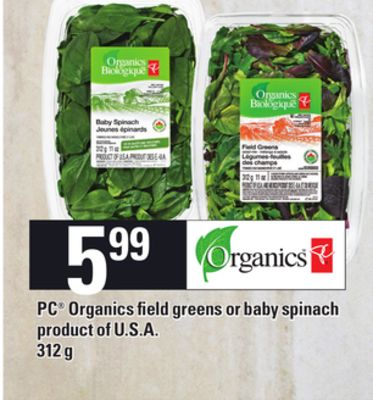 PC Organics Field Greens Or Baby Spinach - 312 g