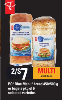 PC Blue Menu Bread - 450/500 g Or Bagels - Pkg of 6