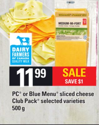 PC Or Blue Menu Sliced Cheese Club Pack - 500 g