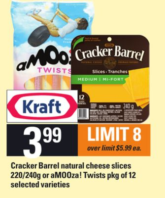 Cracker Barrel Natural Cheese Slices - 220/240g Or Amooza! Twists - Pkg of 12