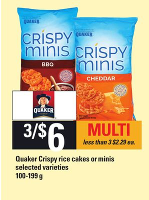Quaker Crispy Rice Cakes Or Minis - 100-199 g